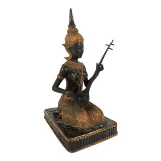 Early 20th Century Thai Bronze Female Figure, the Phin Musician For Sale