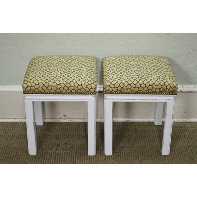 Mid Century Pair of Custom Painted Square Stools Benches - Image 3 of 11