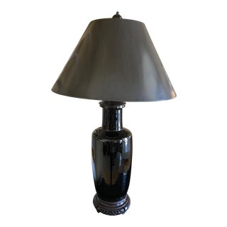 19th Century Antique Asian Style Black Table Lamp For Sale