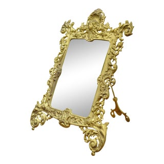 Antique Victorian Gold Gilt Iron Bronze Bradley Hubbard B&h Table Vanity Mirror For Sale