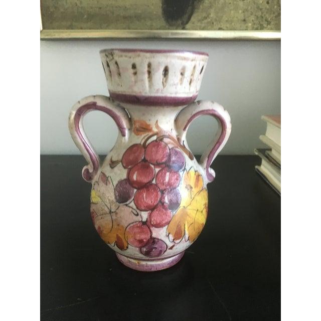 Ceramic Vintage Italian Mid Century Modern Hand Painted Grape Ceramic Confit Jar Pottery For Sale - Image 7 of 10