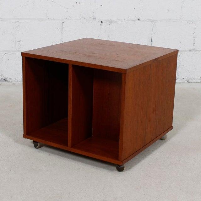 Rolling Vinyl / Book Caddy / Multifunctional Storage Cube in Teak - Image 9 of 10