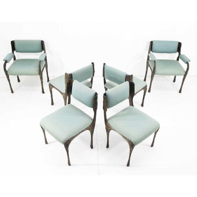 Set of Six Paul Evans Brutalist Sculpted Bronze and Resin Dining Chairs, 1972 - See Updated Listing W. New Upholstery For Sale - Image 9 of 11