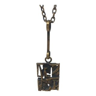 Finnish Abstract Mid Century Bronze Pendant For Sale