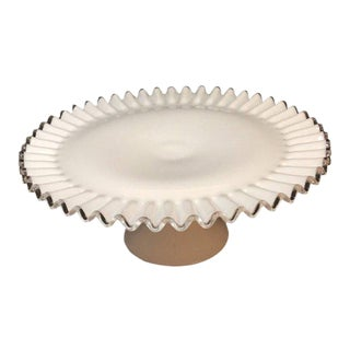 1970s Traditional Fenton Silver Crest Cake Stand