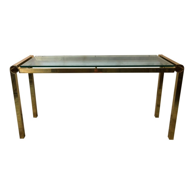 Mid-Century Modern Brass & Glass Console Table - Image 1 of 4
