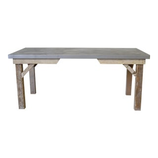 Zinc Top & Reclaimed Wood Dining Table For Sale