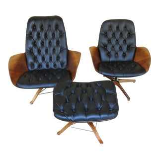 1960s Vintage Lounge Chairs & Ottoman - 3 Pieces For Sale