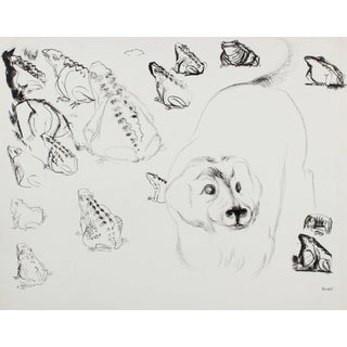 Frog Party With Timid Dog 1970s Ink Drawing For Sale