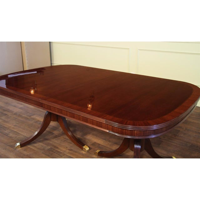 Formal Double Pedestal Mahogany Dining Table - Image 4 of 7
