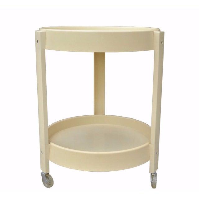 Vintage Joe Colombo Style Mid Century Modern Plastic Round Bar Tea Cart For Sale - Image 11 of 11