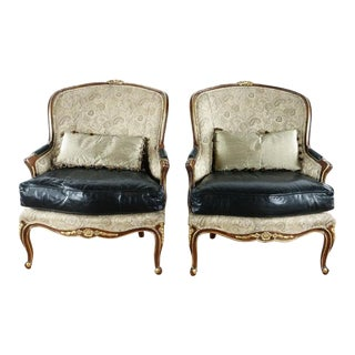 Modern Century Furniture French Style Upholstered Chairs- A Pair For Sale
