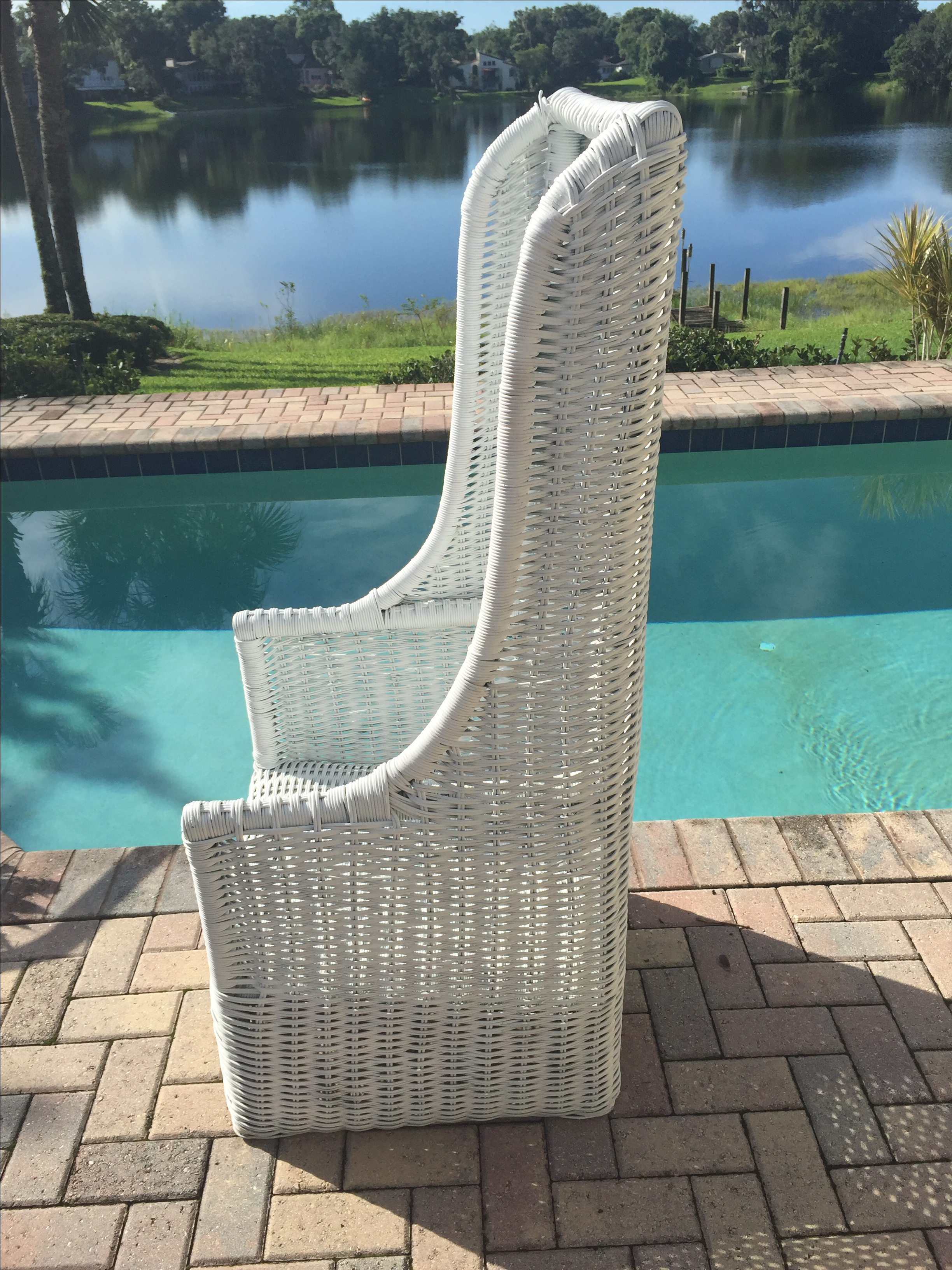 Vintage Rattan High Back Chairs   Pair   Image 7 Of 11