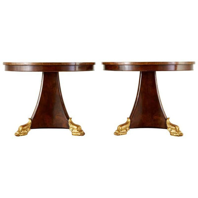Pair of English Regency Style Burl Wood Library or Center Tables For Sale - Image 13 of 13