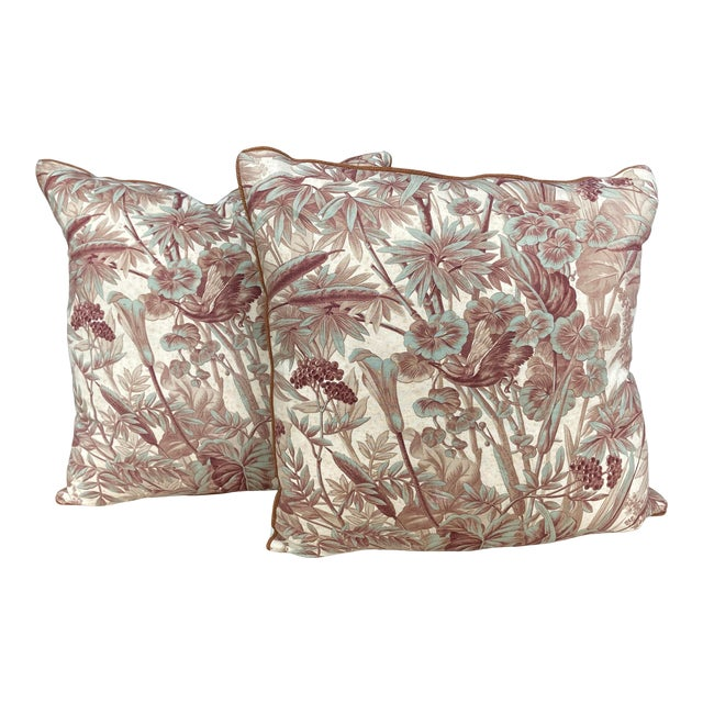 Antique Green & Brown Flora & Fauna Printed Fabric Pillows- a Pair For Sale