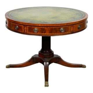 1900's Antique Leather-Top Drum Table For Sale