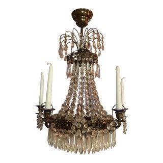 Swedish Gustavian Crystal Chandelier For Sale