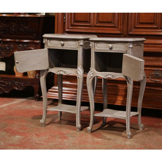 Pair of 19th Century French Louis XV Carved Painted Nightstands With Marble Top For Sale - Image 4 of 10
