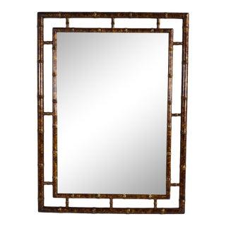 Vintage Mid-Century John Widdicomb Faux Bamboo Wall Mirror For Sale