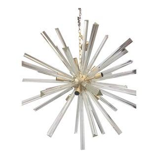 Chandelier Transparent Clear Murano Glass Triedo Sputnik Chandelier with a Gold Frame For Sale