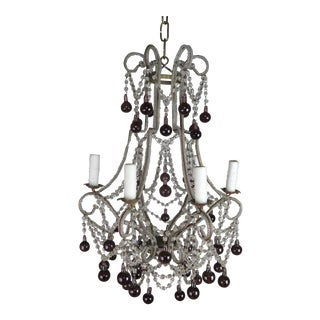 Crystal Chandelier With Aubergine Drops For Sale