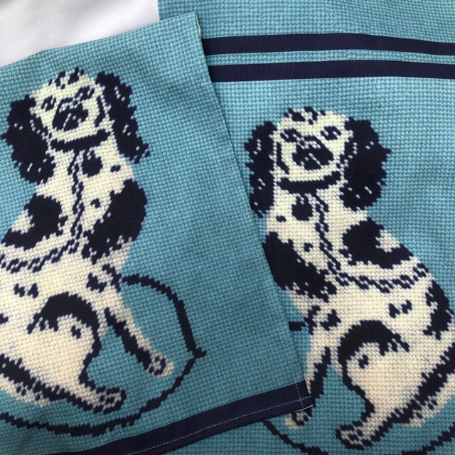 Custom Made Staffordshire Blue Linen Cotton Tea Towels - a Pair For Sale - Image 9 of 10