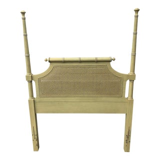 1970s Henry Link Bali Hai Yellow Faux Bamboo Headboard For Sale