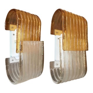 Amber and Frosted Ribbed Mazzega Sconces - a Pair For Sale