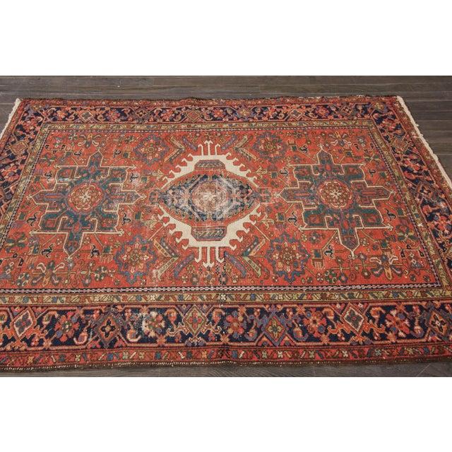 """Antique Heriz Wool Rug- 4'6"""" x 6'3"""" - Image 2 of 7"""
