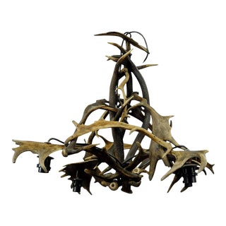 Elaborate Rustic Antler Chandelier For Sale