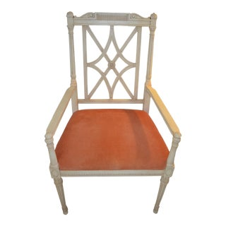 1990s Vintage Traditional Wood Side Armchair For Sale