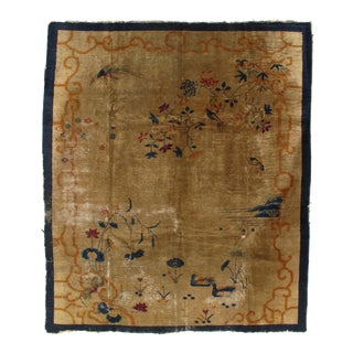 Early 20th Century Antique Chinese Art Deco Area Rug - 8′1″ × 9′6″ For Sale