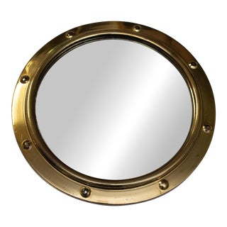 "14"" Round Nautical Porthole Convex Brass Mirror For Sale"