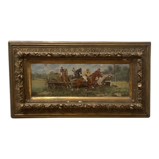 """19th Century """"Steeplechase"""" Figurative Landscape Oil Painting, Framed For Sale"""