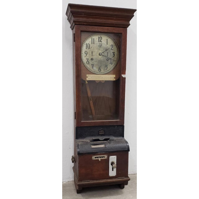 """Brown Vintage """"International Time Recording"""" Time Clock C.1930s For Sale - Image 8 of 8"""