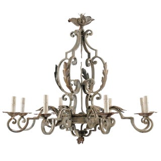 French Painted Iron Chandelier With Scroll and Acanthus Leaf Motifs For Sale