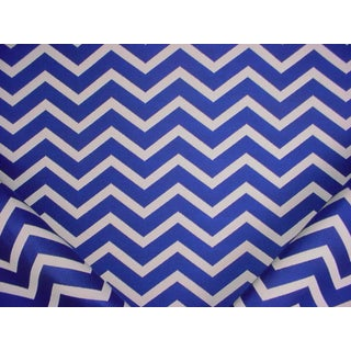 Ralph Lauren Cherbourg Chevron Cobalt Outdoor Upholstery Fabric - 2 Yards For Sale