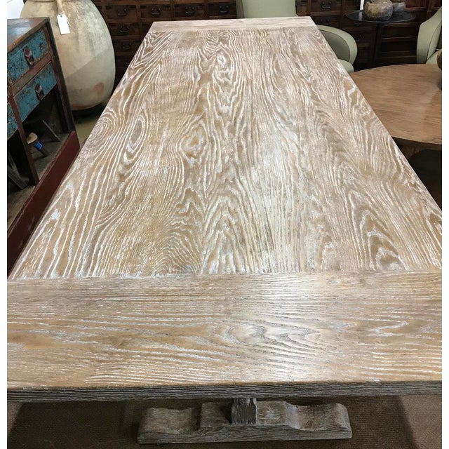 Custom Oak Classic Trestle Table For Sale In Los Angeles - Image 6 of 7
