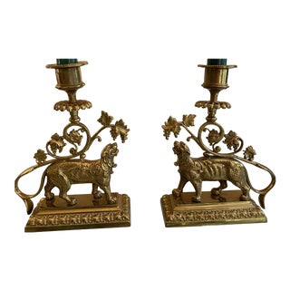 Vintage Brass Lion Chamberstick Candleholders - a Pair For Sale