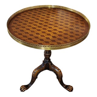Tumbleblock Parquetry Inlay Galleried Walnut Tripod Table For Sale