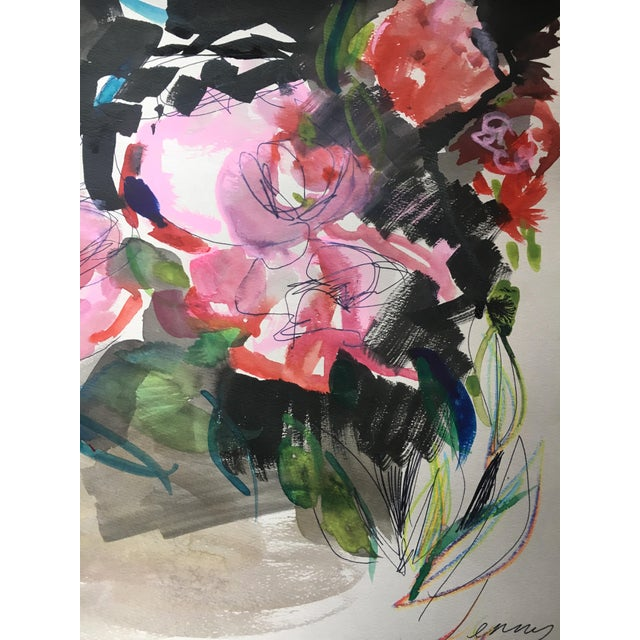 Jenny Vorwaller Red Roses Watercolor Painting - Image 4 of 4