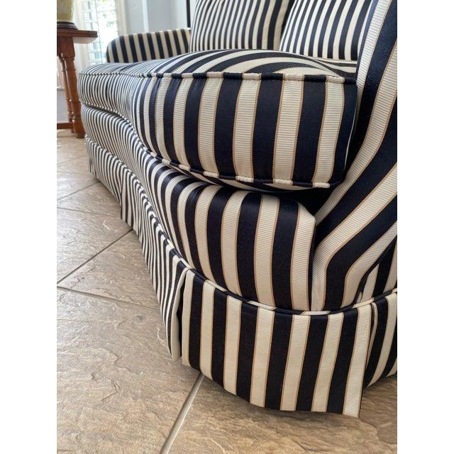 Textile Hollywood Regency Custom Isenhour Black and Cream Loveseat For Sale - Image 7 of 13