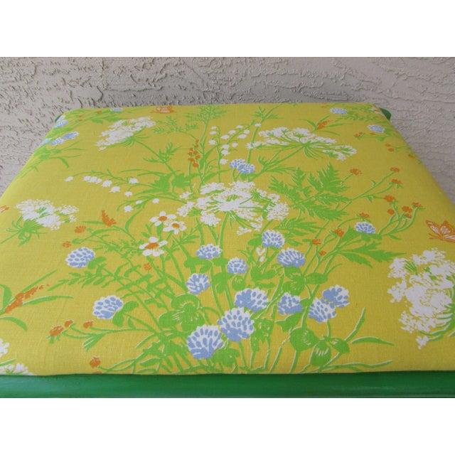 Mid-Century Green Rattan Footstool - Image 6 of 8
