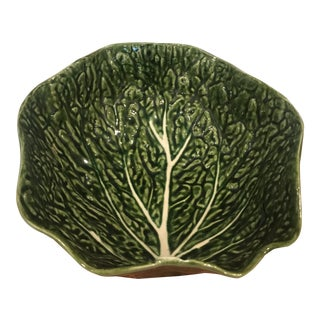 Vintage Portuguese Majolica Green Leaf Cabbage Salad Bowl For Sale