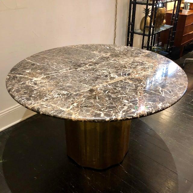B&B Italia Italian Marble Table / Brass Base Table For Sale - Image 4 of 10