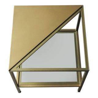Modern Brass Finish & Glass Side Table