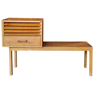 1950s Vintage Scandinavian Low Bench With Modular Cabinet For Sale