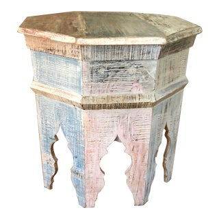 1940s Vintage Hand Carved Moroccan Side Table Shabby Chic Colors and Size For Sale