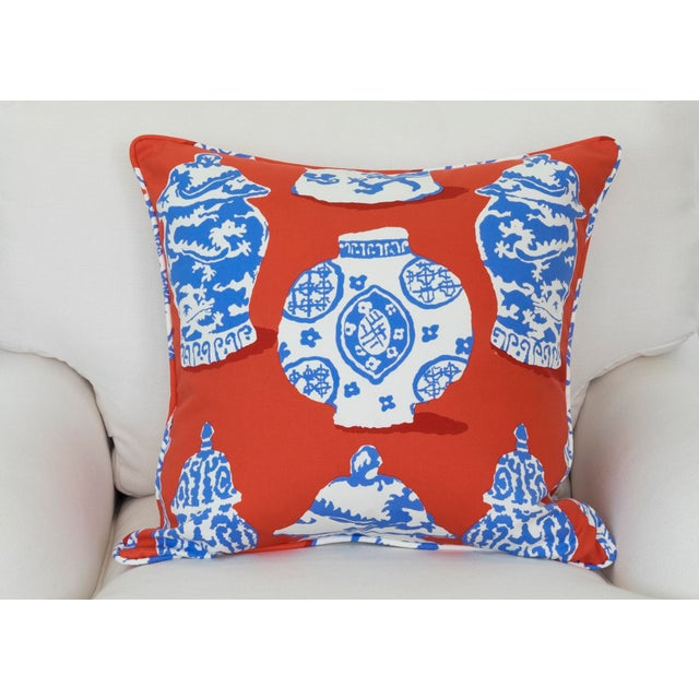 Dana Gibson Persimmon Red, White & Blue Pillows- A Pair - Image 4 of 7