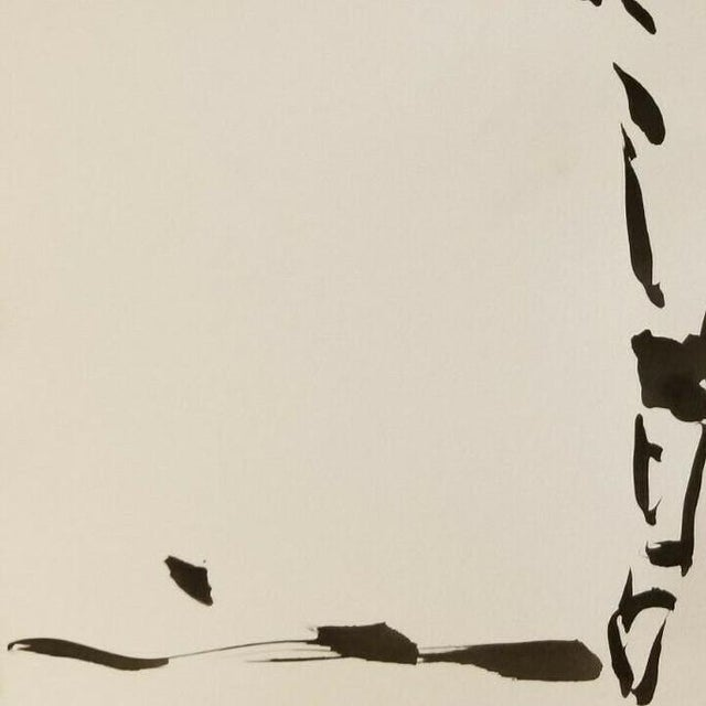 Contemporary Impressionism Black Ink Wash on Paper Collectible Fencing Figure by Jose Trujillo For Sale - Image 3 of 5